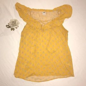 Flowy off the shoulder yellow blouse